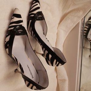 Zebra high heels with silver heel